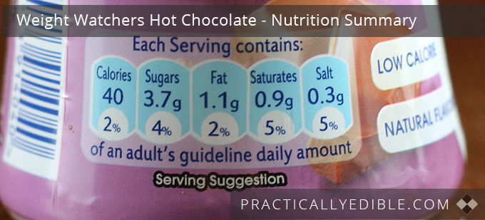 Weight Watchers Hot Chocolate Nutrition Summary