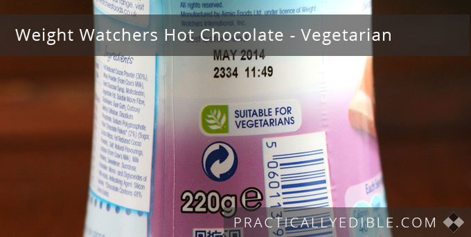 Weight Watchers Hot Chocolate Suitable for Vegetarians