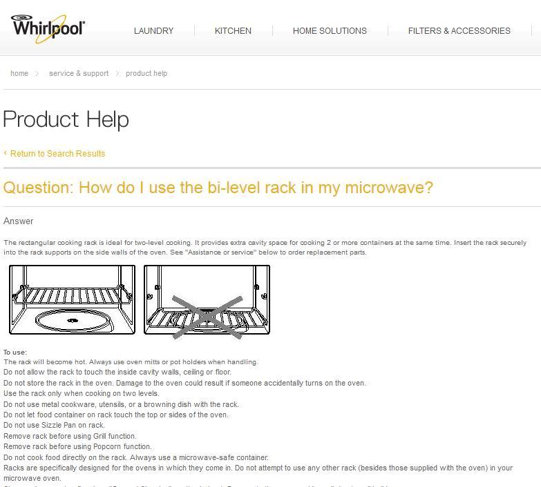 Whirlpool Two Level Microwave Rack