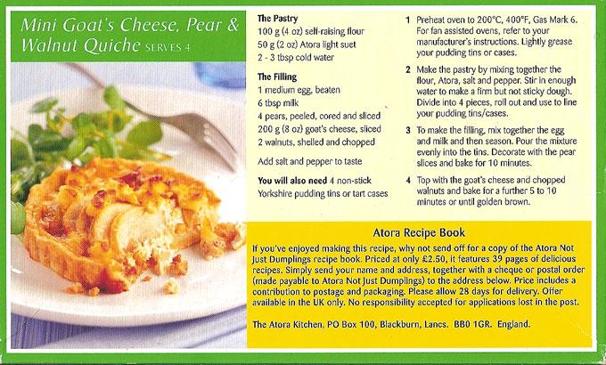 Atora Light recipe from the box