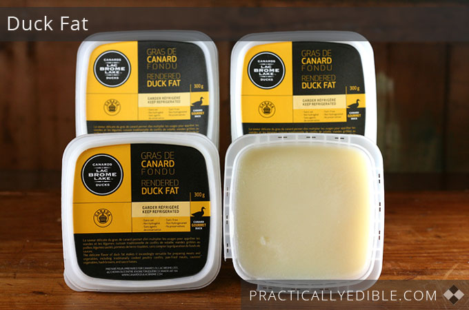 Duck fat in tubs